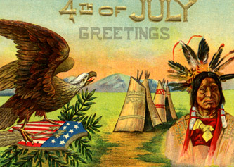 4th of July Native Postcard