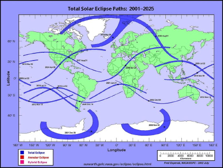 world map of solar eclipses from 2001 to 2025