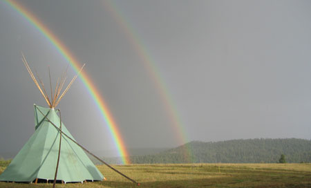 rainbow over tipi